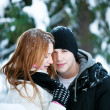 Guy and the girl enjoy winter walk — Stock Photo #4508234