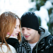 Guy and the girl enjoy winter walk — Stock Photo #4508237