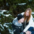 Guy and the girl enjoy winter walk - Lizenzfreies Foto