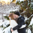 Guy and the girl enjoy winter walk — Stock Photo