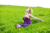 Girl on a meadow — Stock Photo