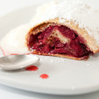 Cherry strudel closeup — Stock Photo