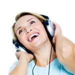 Happy woman with headphones — Stock Photo
