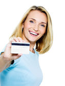 Happy woman with credit card — Stock Photo