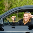Cheerful woman with keys of car — Stock Photo #4089925