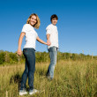 Full-length portrait young couple — Stock Photo