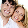 Beautiful couple on blue skiy — Stock Photo