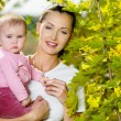 Happy smiling mather with baby outdoor — Stock Photo #4094988
