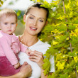 Happy smiling mather with baby outdoor — Stock Photo