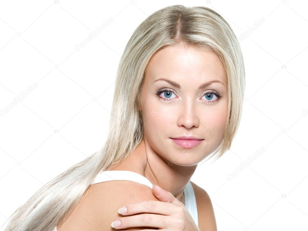 Beautiful young woman with long straight hair on a white background — Stock Photo #4094601
