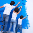 Brushing the wall by family — Stock Photo #4101014