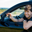 Happy man showing keys in car - Stock Photo