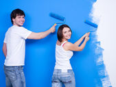 Renovation by happy couple — Stock Photo