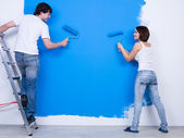 Renovation by young couple — Stock Photo