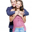 Happy young beautiful smiling couple — Stock Photo