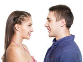 Two young smiling dating — Stock Photo
