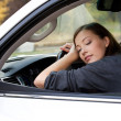 Young  woman sleeps in the car - Foto de Stock