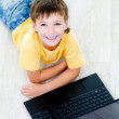 High angle portrait of boy with laptop — Stock Photo