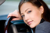 Young woman in the new car — Stock Photo