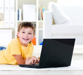 Laptop for little boy — Stock Photo