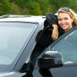 Attractive woman in the new car — Stock Photo #4305882