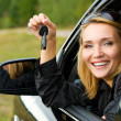 Woman in car showing the keys — Stock Photo