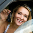 Happy woman in the new car with keys — Stock Photo #4305965