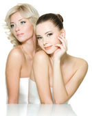 Sensuality faces of two beautiful young women — Stock Photo