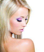 Woman's face with saturated make-up — Stock Photo