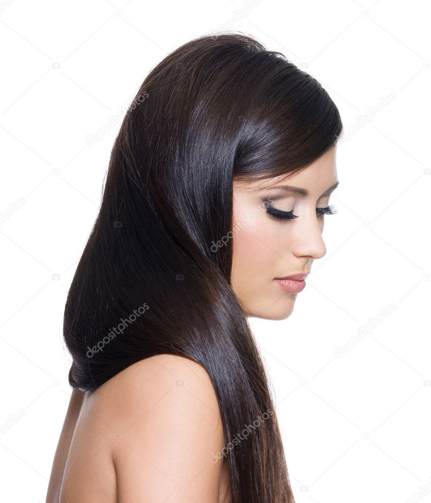 Portrait of pretty woman with long straight brown hair - on white background — Photo #4352351