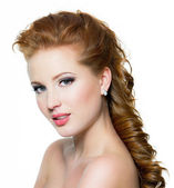 Attractive red-haired female with beautiful face — Stock Photo