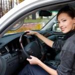 gülümseyen kadın yeni arabada oturur — Stok fotoğraf