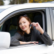 Successful woman with keys from car — Stock Photo #4595466