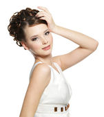 Beautiful gorgeous woman with curly hairstyle — Stock Photo