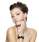 Beautiful glamour woman with black nails — Stock Photo
