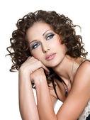 Krásná tvář ženy s módní makeup — Stock fotografie
