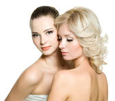 Beautiful sexy young adult women posing on white — Stock Photo