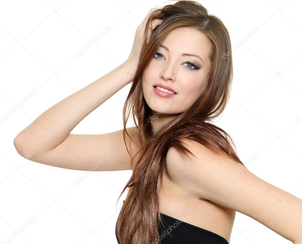 Portrait of beautiful sexy fashion model with long hair - isolated on white background — Stock Photo #5087209