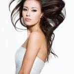 Sensual woman with beautiful long brown hairs — Stock Photo