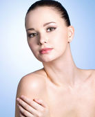 Portrait of beautiful woman with clean skin — Stock Photo