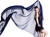 Glamour model with chiffon — Stock Photo