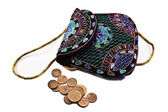 Purse and coins — Stock Photo