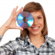 Girl with disc — Stock Photo