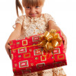 Child with gift box — Foto Stock
