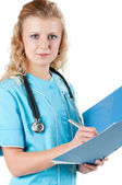 Doctor with file folder — Stock Photo