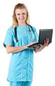 доктор с ноутбуком — Стоковое фото
