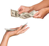 Hands with dollars — Photo