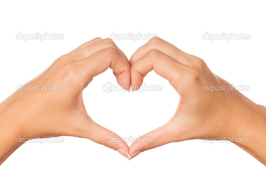 Woman hand making sign Heart isolated on white background — Stock Photo #4725796