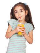 Chica bebiendo el jugo — Foto de Stock