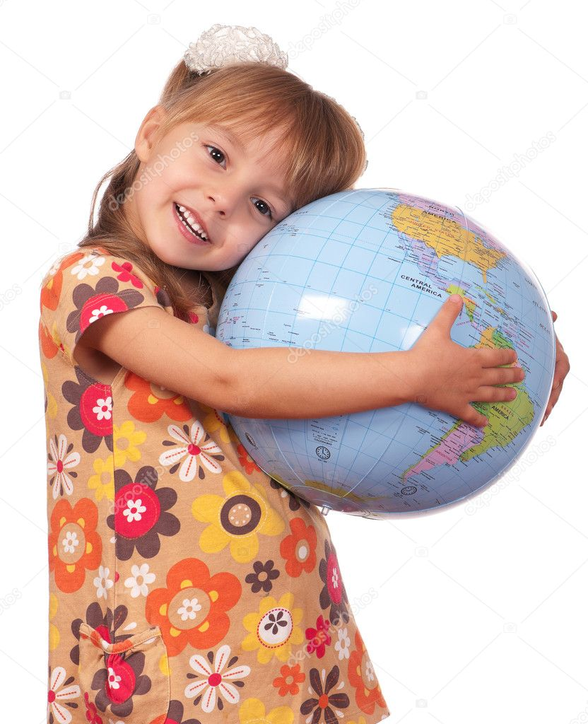 Smiling little girl holding globe. Isolated on white background. — Stock Photo #5116192